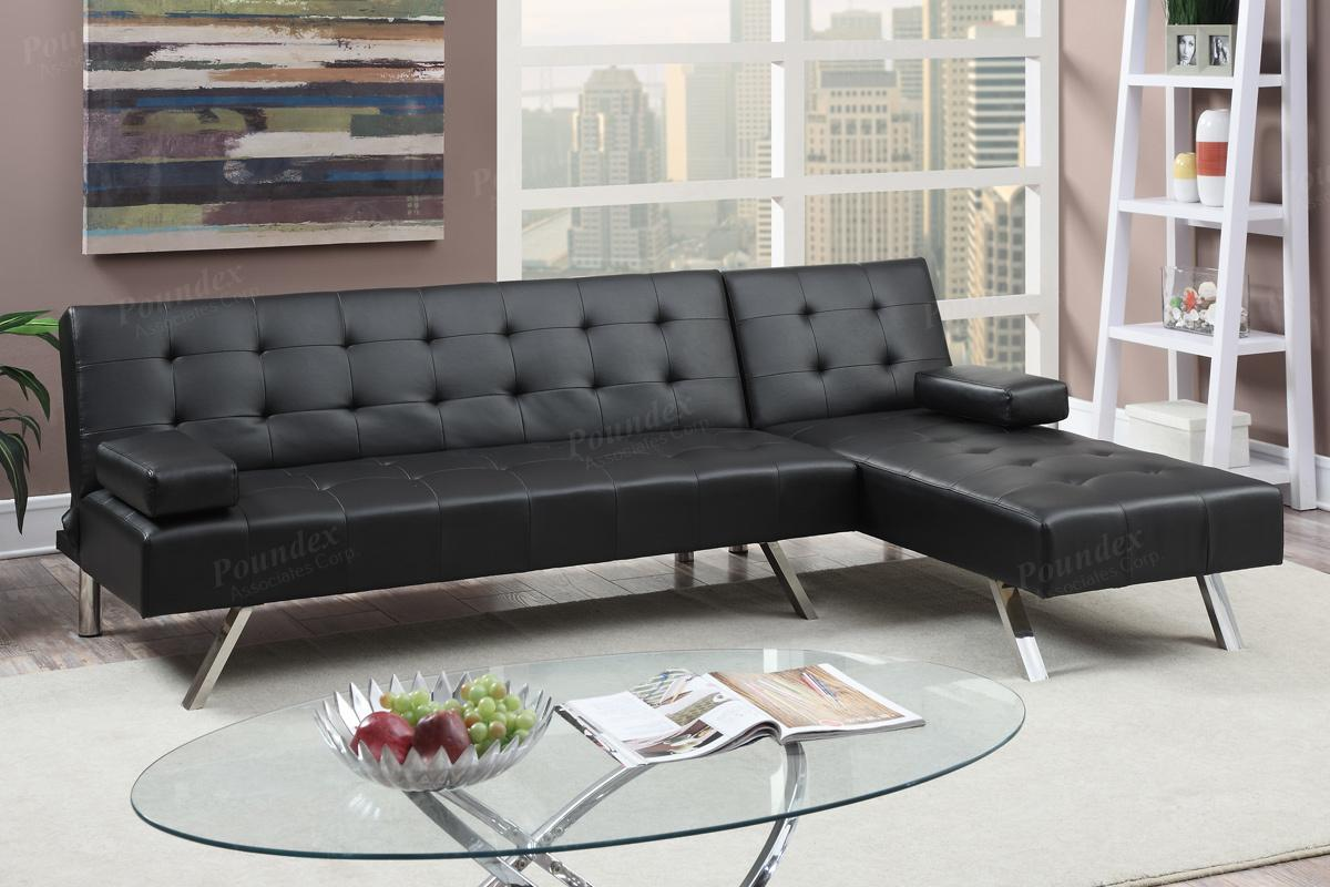 Nit Black Leather Sectional Sofa Bed