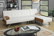 Nit White Leather Sectional Sofa Bed