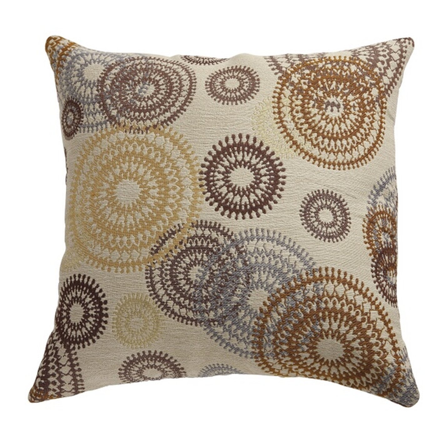 Beige fabric accent pillow steal a sofa furniture outlet - Fabric for throw pillows ...