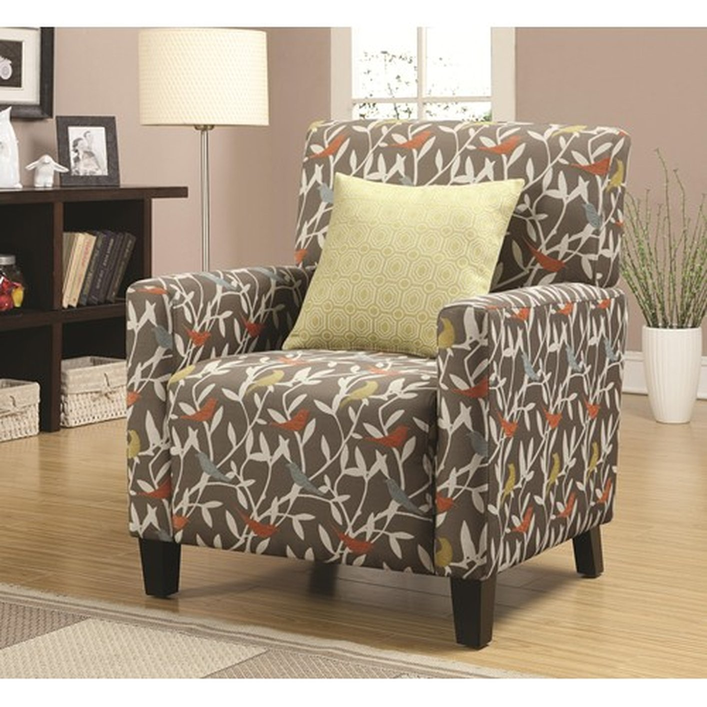 Charmant Noella Yellow Fabric Accent Chair