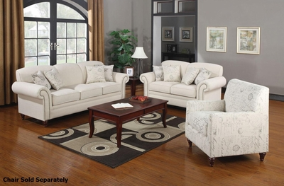 Norah Beige Fabric Sofa and Loveseat Set