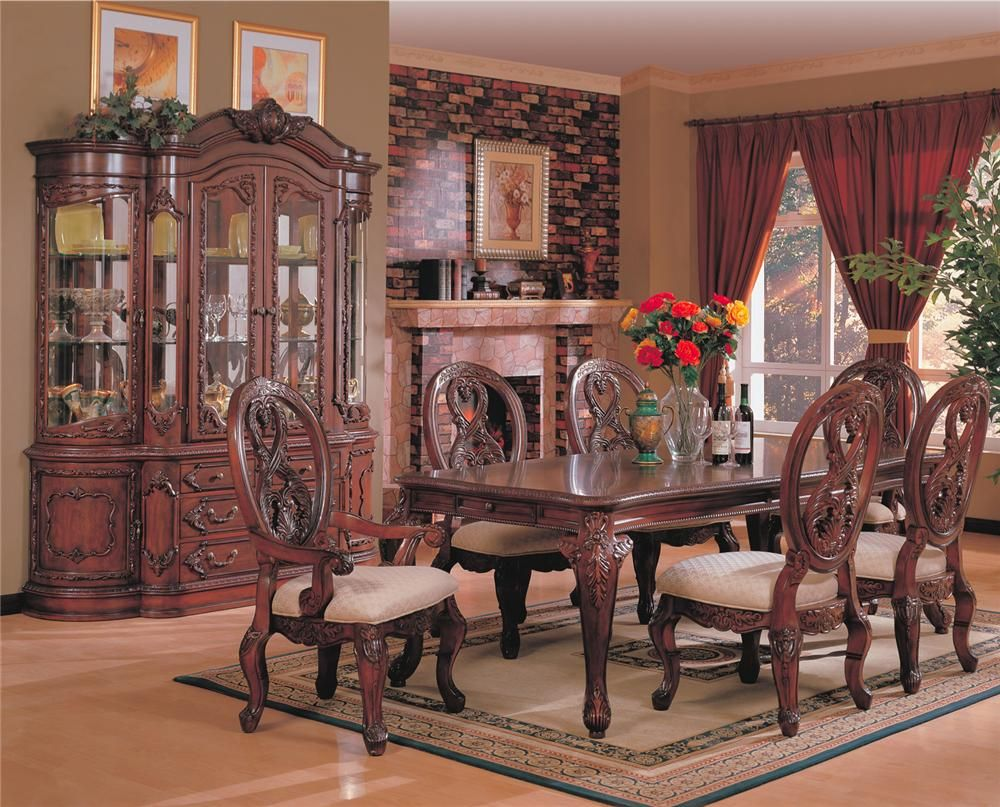 nottingham brown cherry wood dining table set steal a sofa