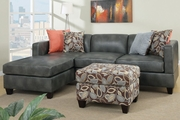 Odessa Gray Faux Leather Sectional Sofa