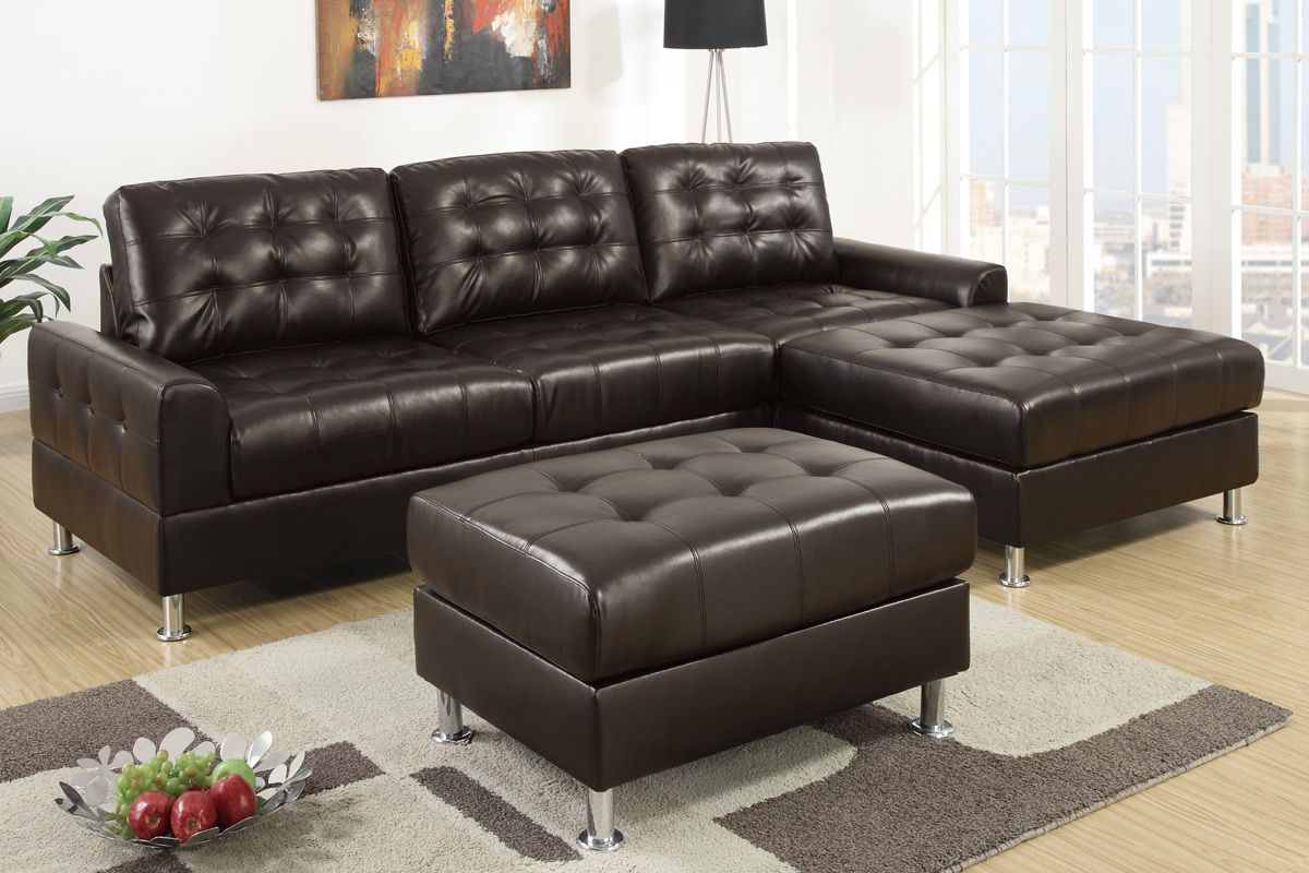 Olander espresso bonded leather sectional sofa steal a for Furniture 90036