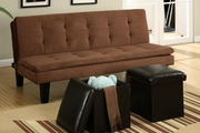 Brown Fabric Twin Size Sofa Bed