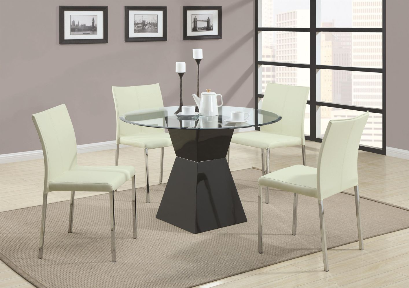 Ophelia Black Wood And Glass Dining Table