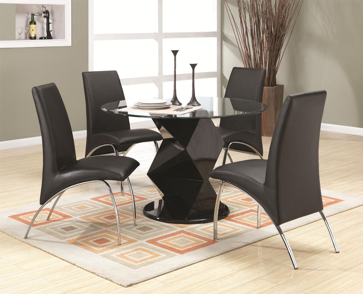 Coaster Ophelia 120800 120802 Black Wood And Glass Dining Table