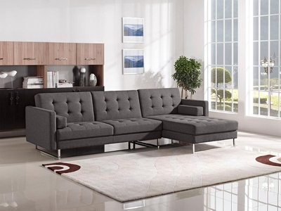 Opus Grey Fabric Sectional Sofa Bed