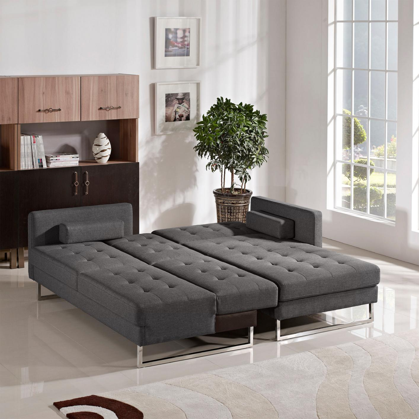 Opus Grey Fabric Sectional Sofa Bed Steal A Sofa Furniture