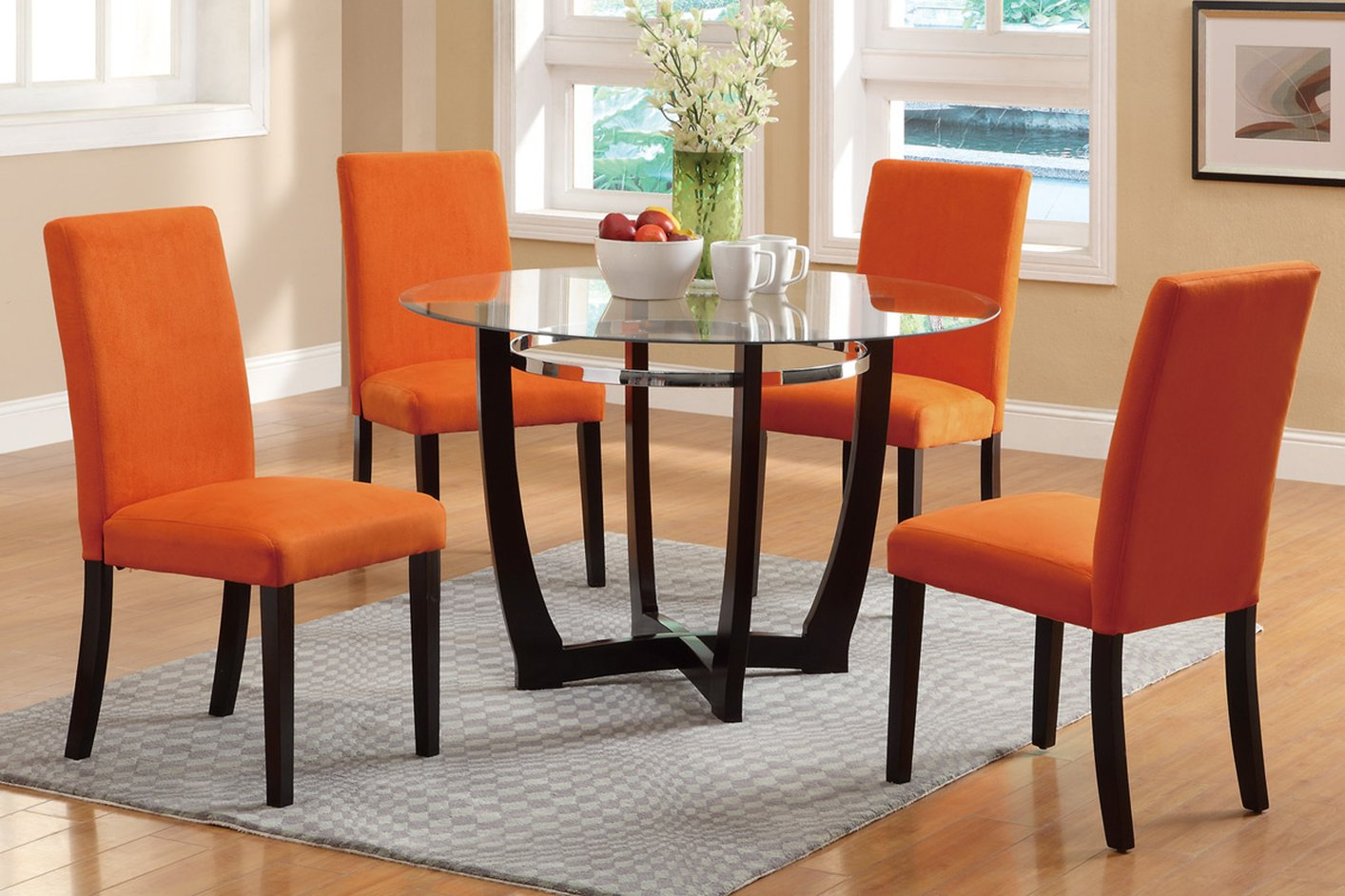 Orange Fabric Dining Chair
