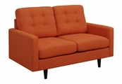 Orange Fabric Loveseat