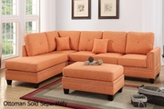 Orange Fabric Sectional Sofa