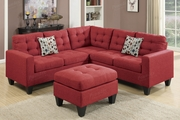 Peta Red Fabric Sectional Sofa and Ottoman