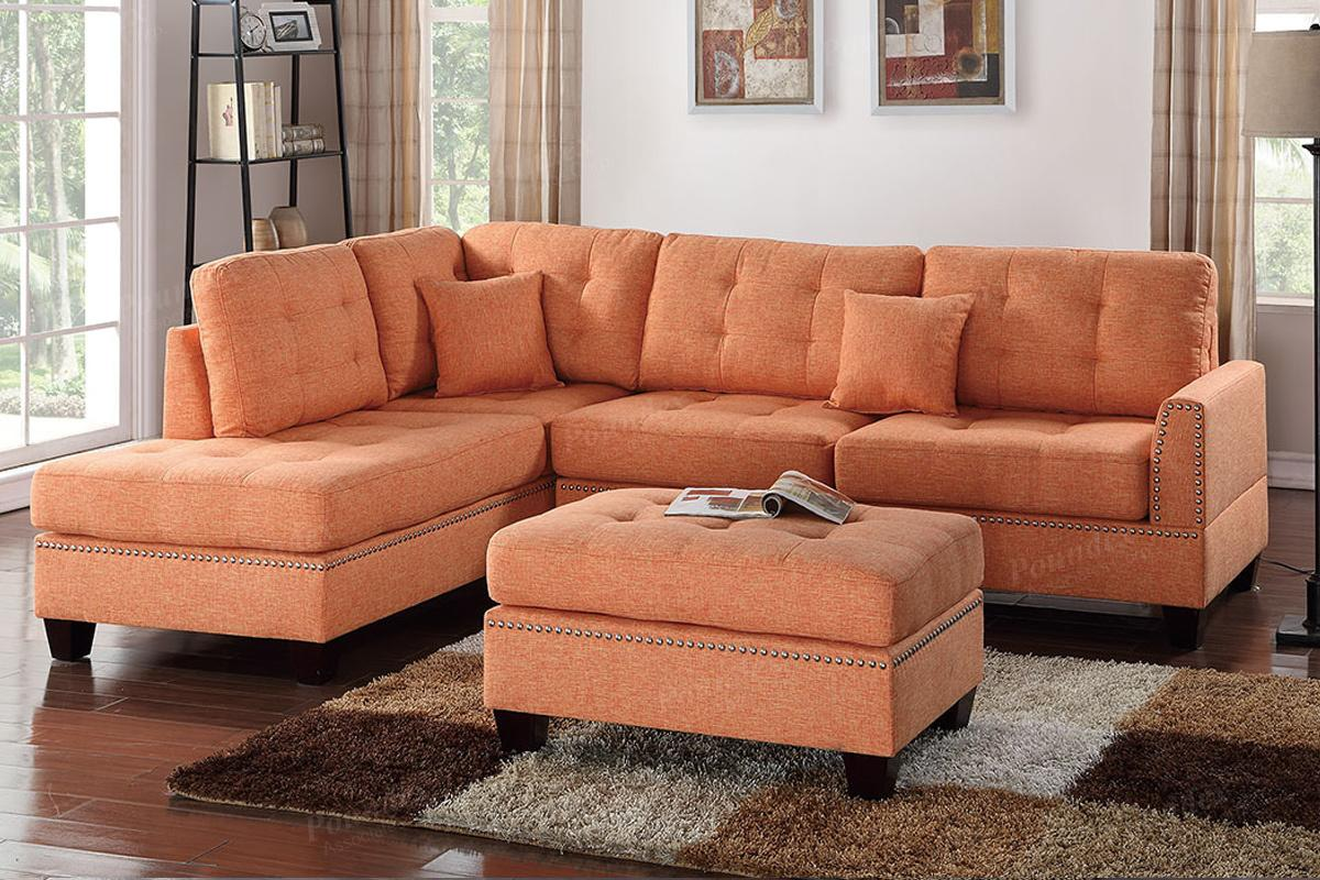 Orange Fabric Sectional Sofa And Ottoman Steal A Sofa