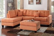 Orange Fabric Sectional Sofa and Ottoman