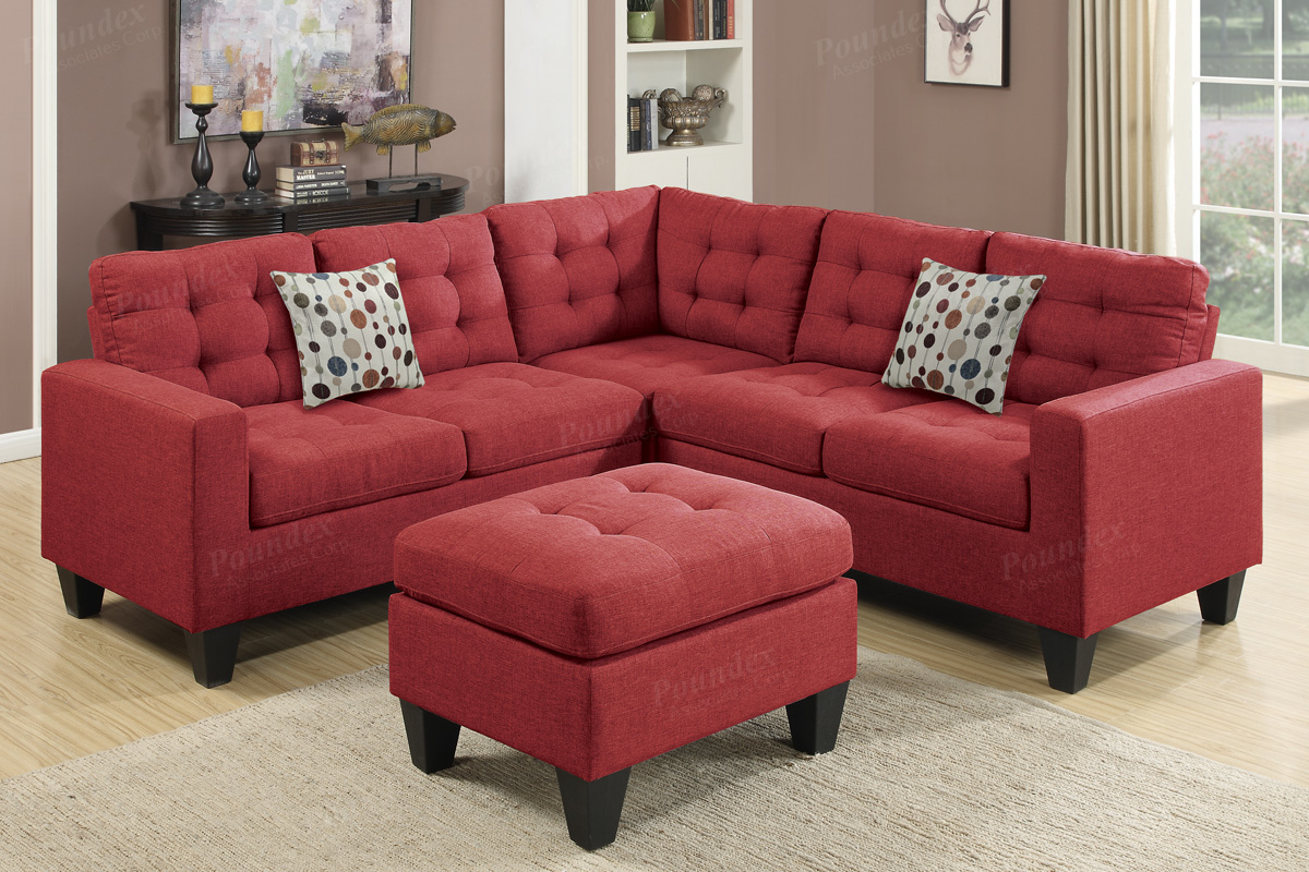 Red Fabric Sectional Sofa And Ottoman Steal A Sofa Furniture