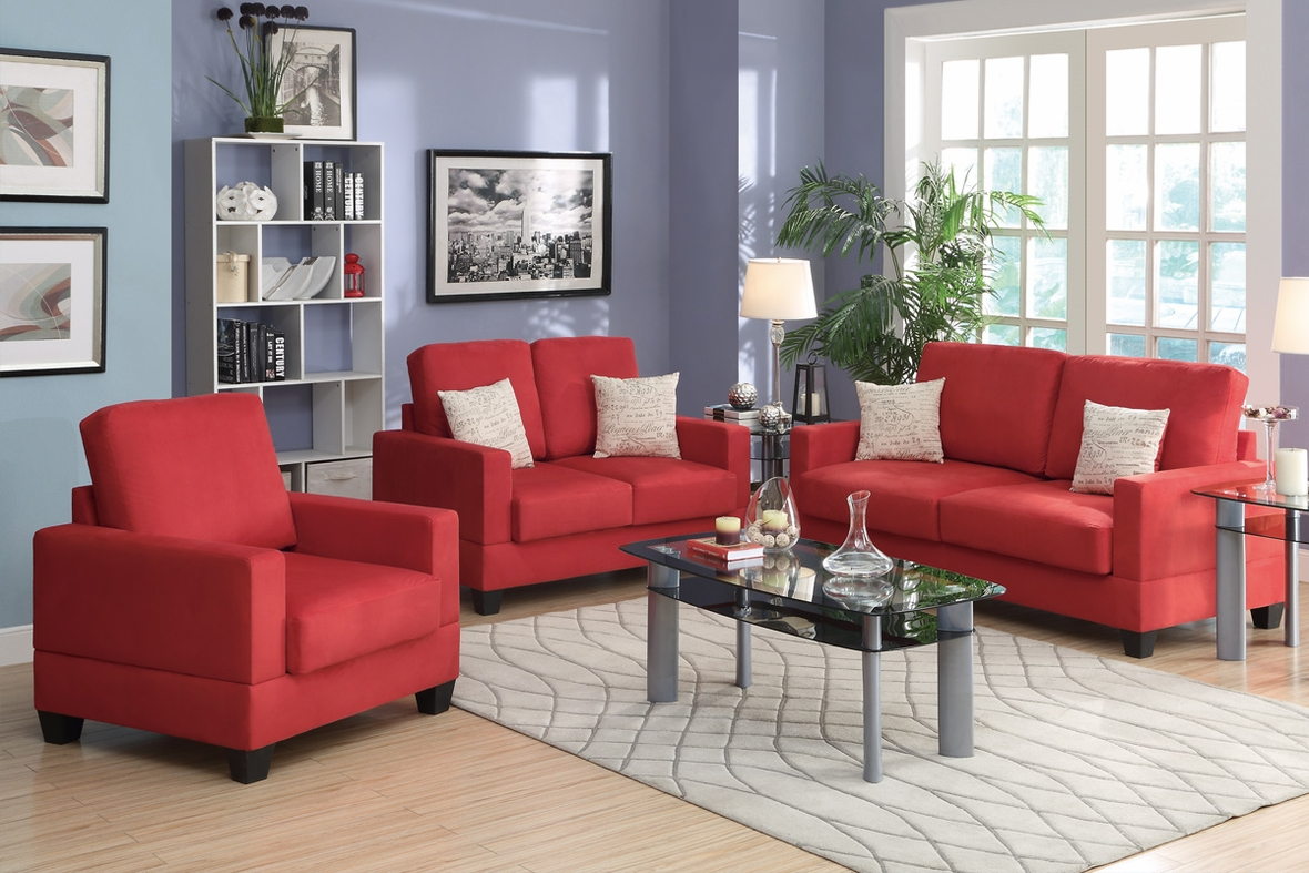 Red Wood Sofa Loveseat And Chair Set Steal A Sofa