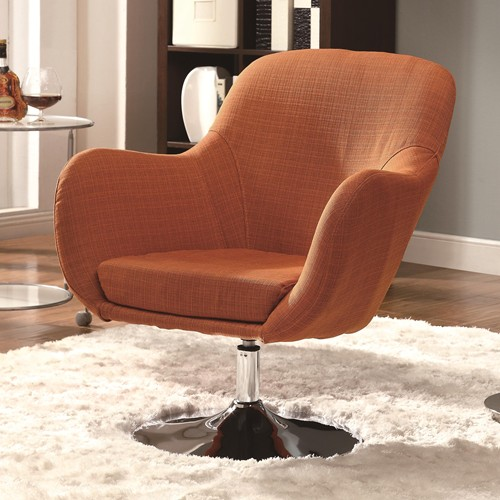 Orange Fabric Swivel Chair