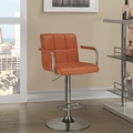 Orange Leather Bar Stool