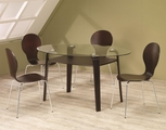 Orval Cappuccino Wood And Glass Dining Table Set