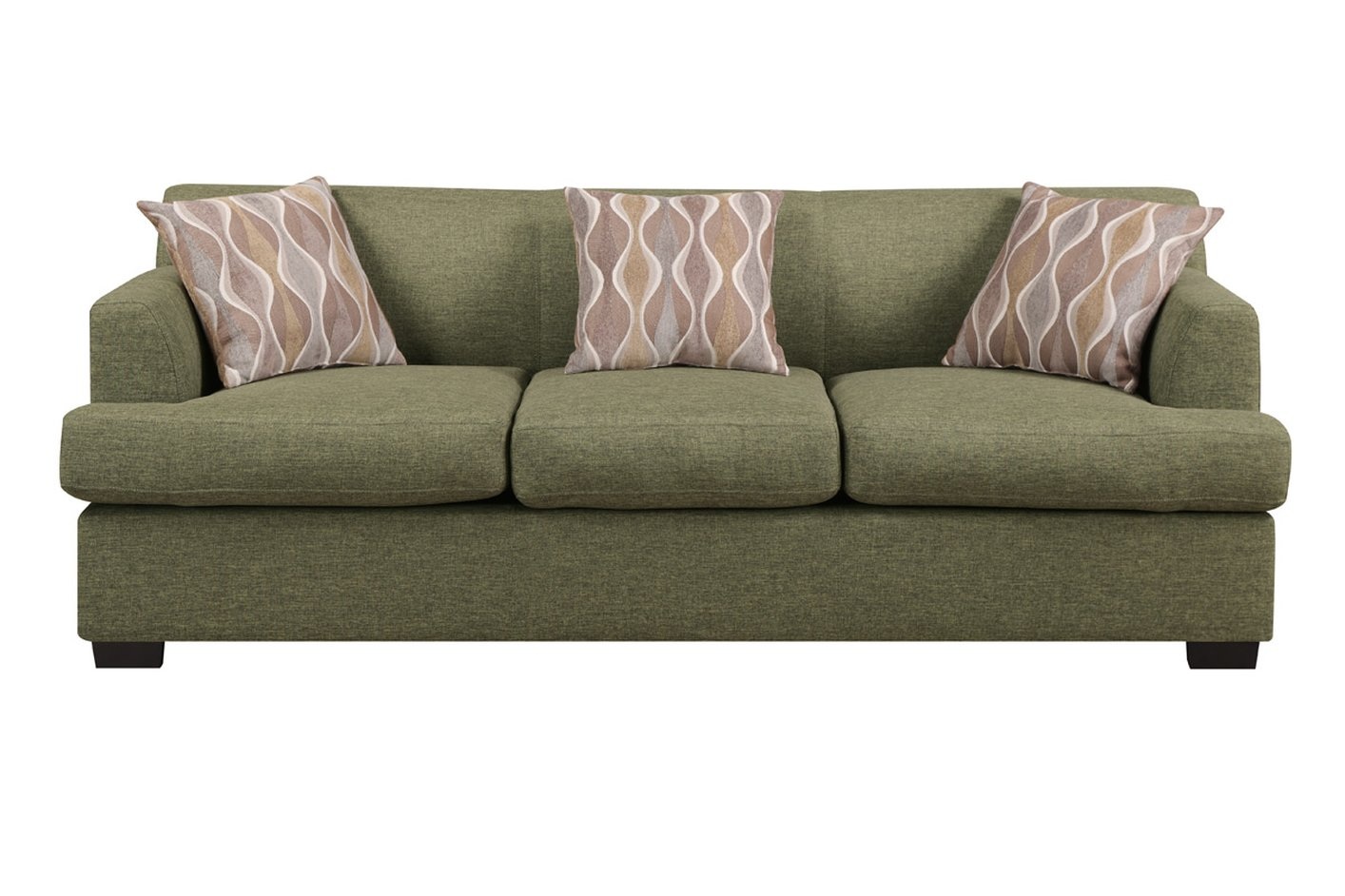 Poundex montreal iv f7978 green fabric sofa steal a sofa for Couch and loveseat