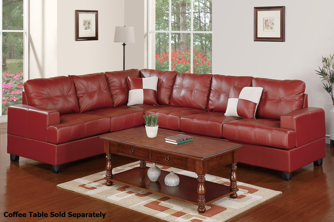 Poundex Pershing F7642 Red Leather Sectional Sofa Steal