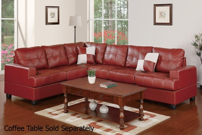 Pershing Red Leather Sectional Sofa