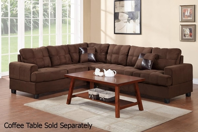 Pershing Brown Fabric Sectional Sofa