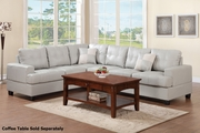Pershing Grey Leather Sectional Sofa