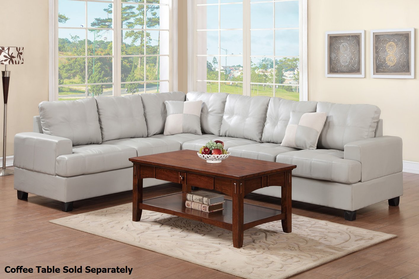 Poundex Pershing F7639 Grey Leather Sectional Sofa Steal