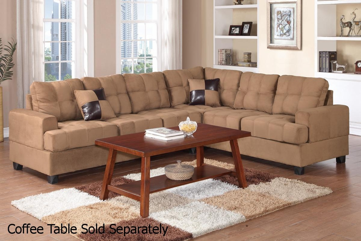 Poundex pershing f7628 brown fabric sectional sofa steal for Sectional sofa los angeles ca