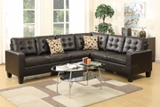 Peta Brown Leather Sectional Sofa