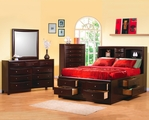 Phoenix Deep Cappuccino Wood Queen Bed Set