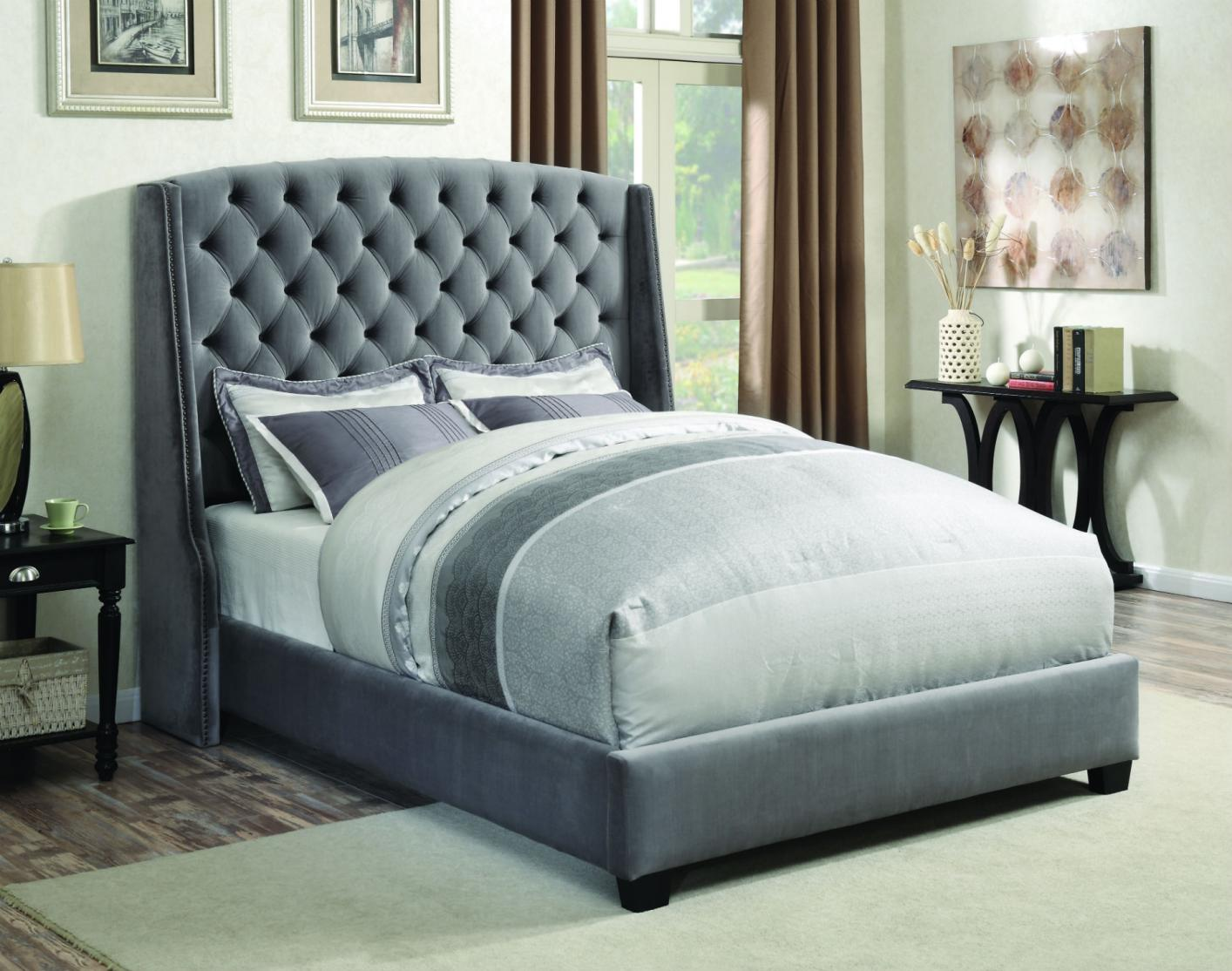 Grey Fabric Queen Size Bed Steal A Sofa Furniture Outlet