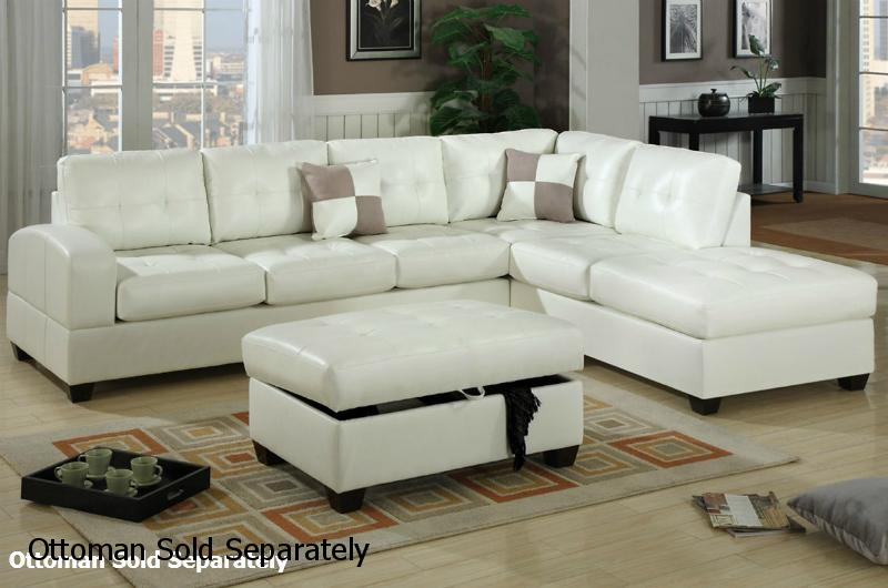 Reese White Leather Sectional Sofa StealASofa Furniture Outlet