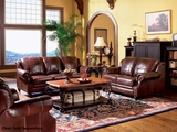 Princeton Brown Leather Sofa and Loveseat Set