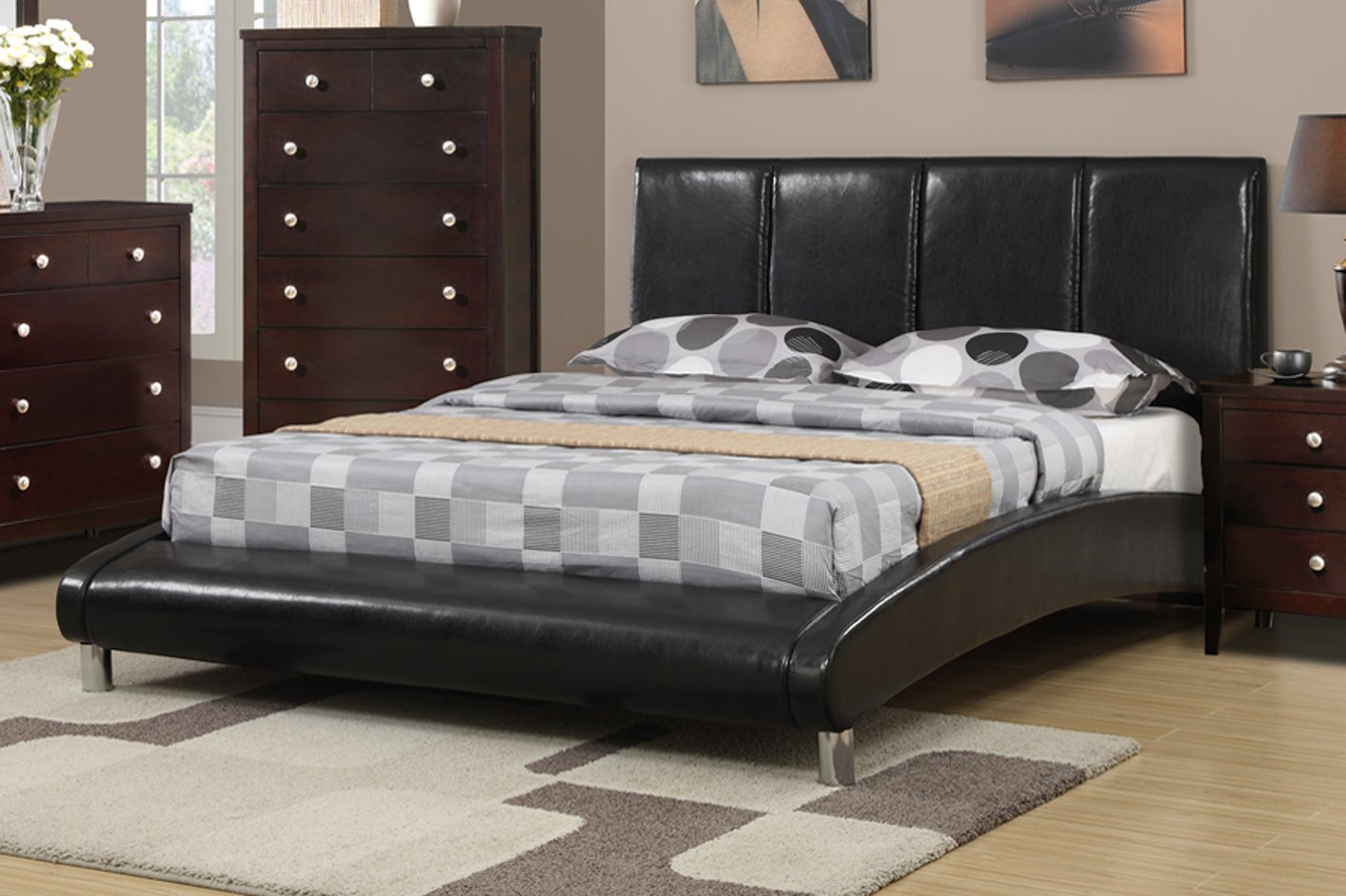 Poundex f9240q black queen size leather bed steal a sofa for Bedroom furniture 90036