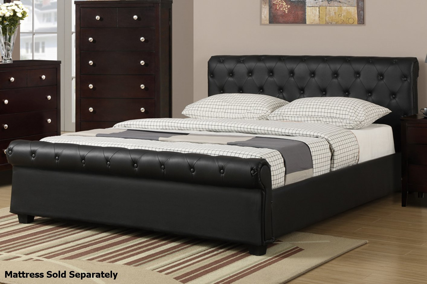 Poundex f9246q black queen size leather bed steal a sofa for Bedroom furniture 90036