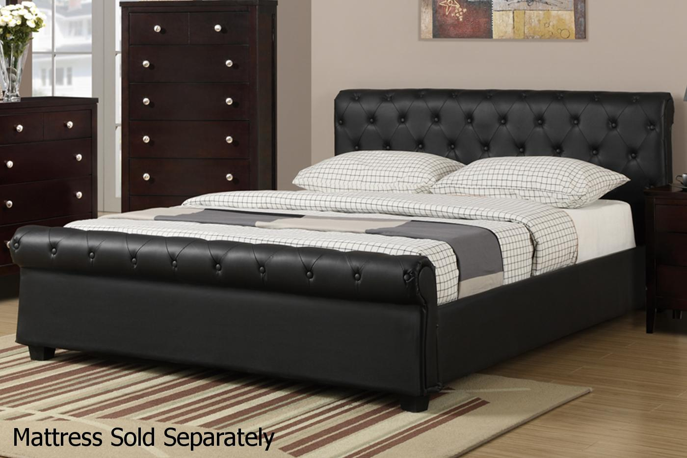 High Quality Black Leather Bed Images
