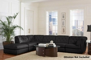 Quinn Black Sectional Sofa with Armless Chair
