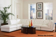 Quinn White Sectional Sofa with Armless Chair