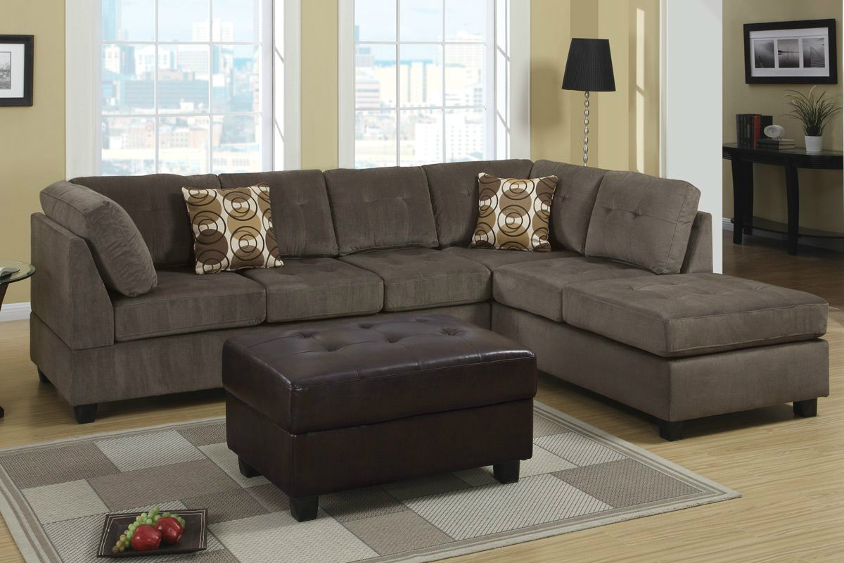 Poundex radford f7263 gray microfiber sectional sofa in for Microfiber sectional sofa