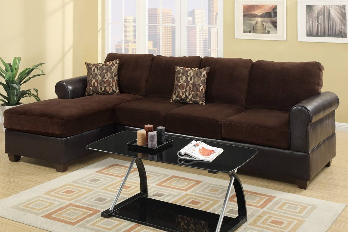 Poundex radley f7105 brown microsuede sectional sofa in los angeles ca for Microsuede living room furniture