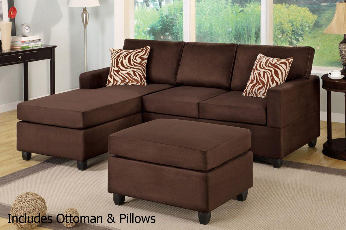 Brown Fabric Sectional Sofa and Ottoman - Steal-A-Sofa Furniture ...