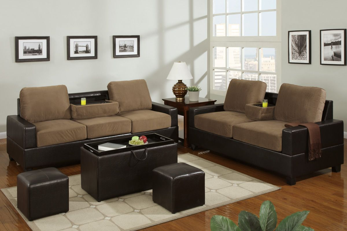Poundex rashad f7507 f7508 beige microfiber sofa and loveseat set in los angeles ca Microfiber sofa and loveseat set