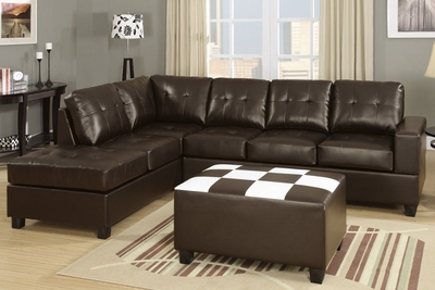 Ratan Espresso Bonded Leather Sectional Sofa