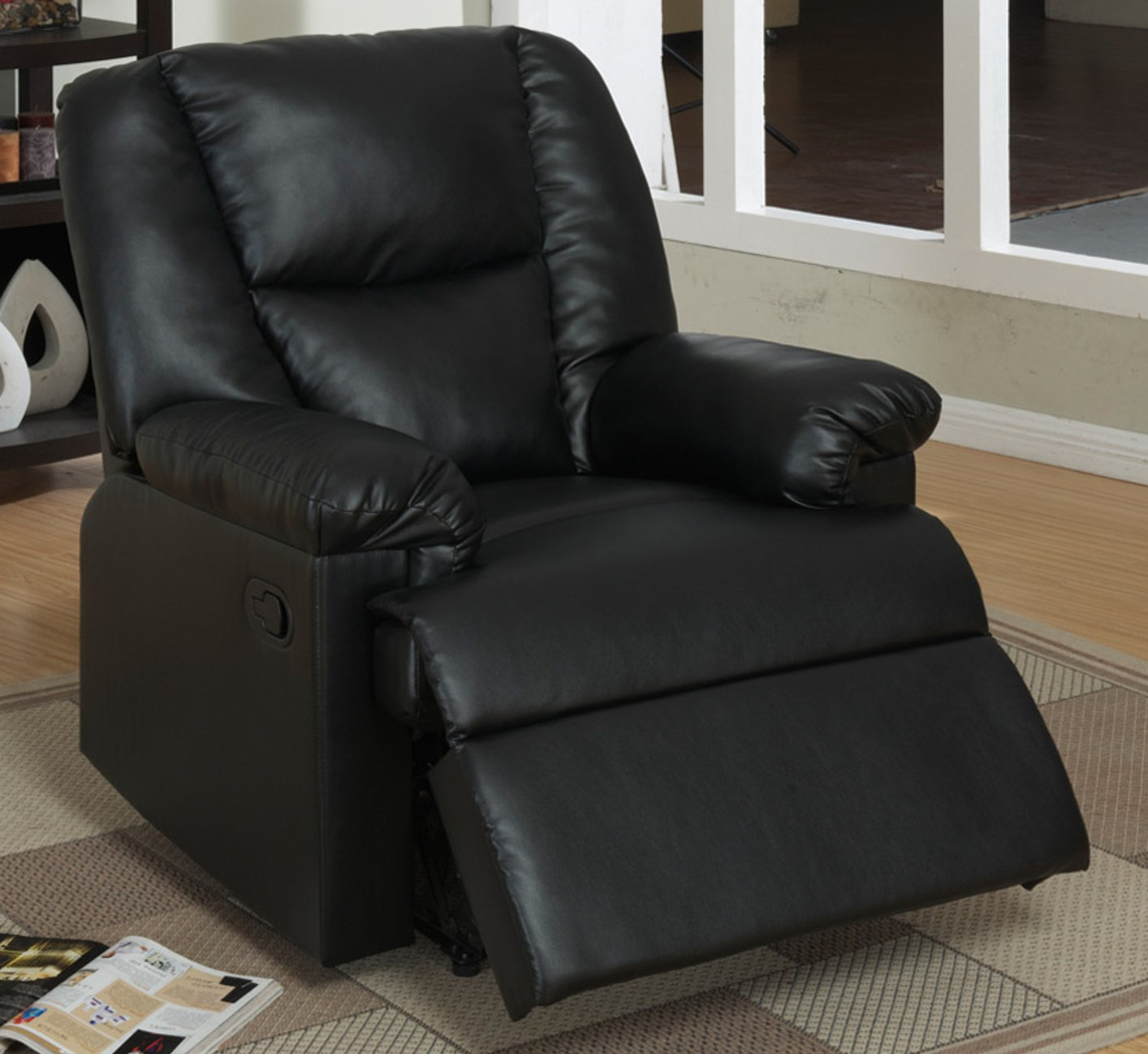Black leather chair steal a sofa furniture outlet los for Furniture 90036