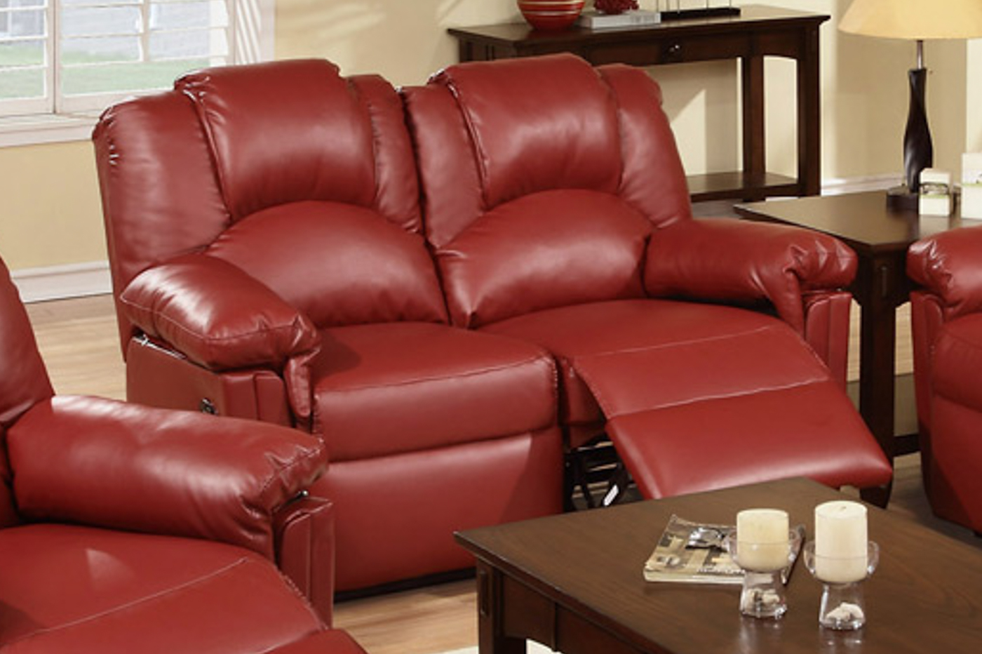 Red Leather Reclining Loveseat Steal A Sofa Furniture Outlet Los Angeles Ca