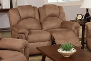 Beige Fabric Reclining Loveseat