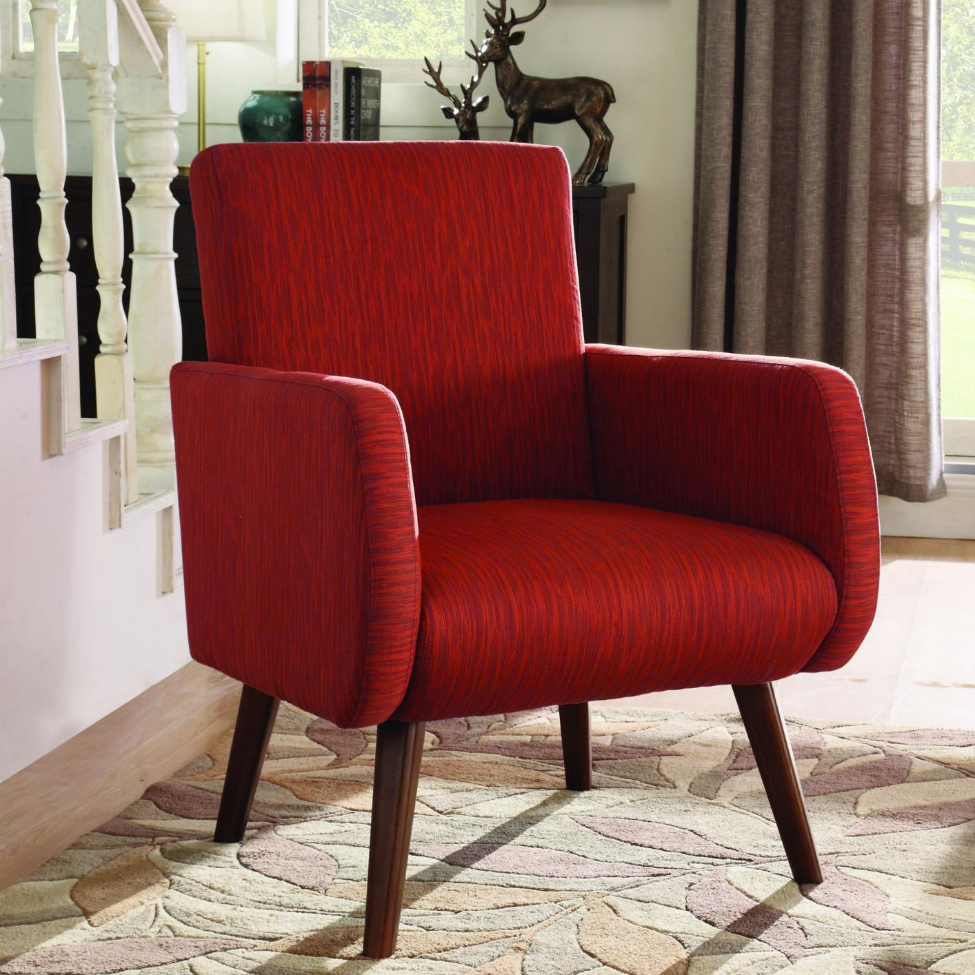 Red Fabric Accent Chair - Steal-A-Sofa Furniture Outlet ...